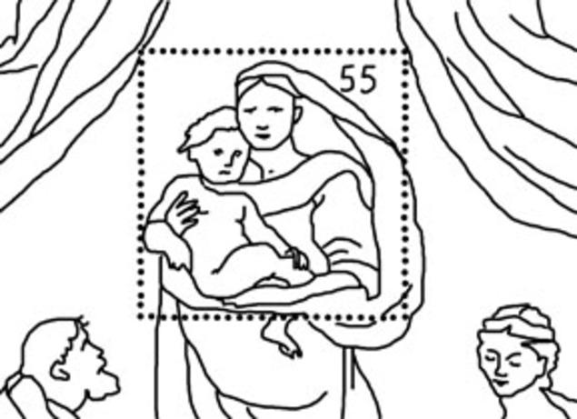 """Sonderpostwertzeichenmotiv """"500 Jahre Sixtinische Madonna"""""""
